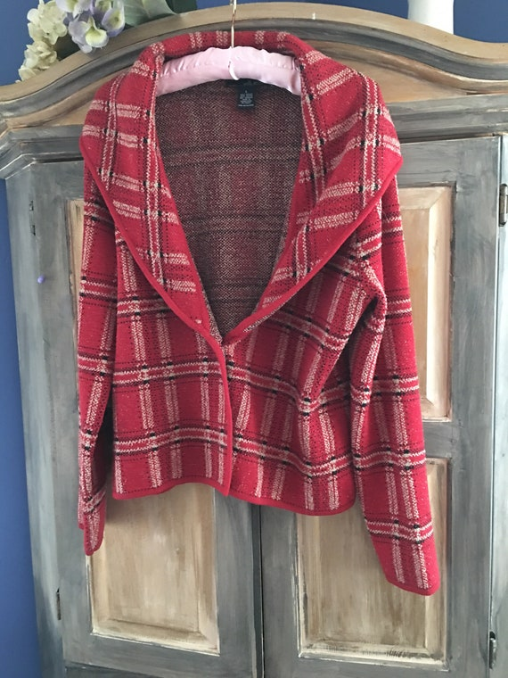 Willi Smith Plaid Knit Shawl Collar Jacket Size L