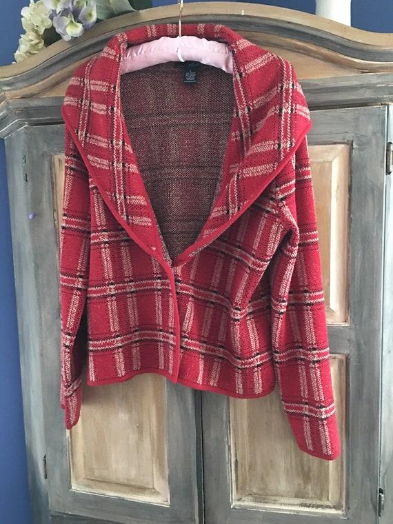 Willi Smith Plaid Knit Shawl Collar Jacket Size L