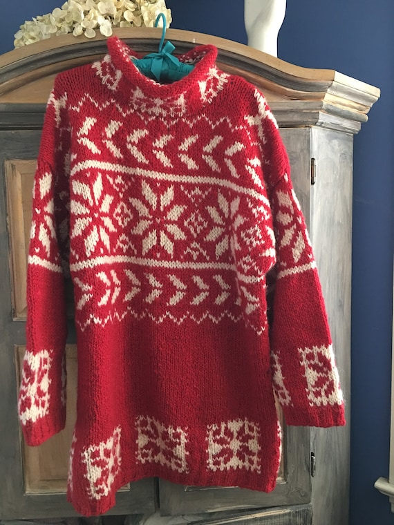 Red & White Snowflake Pattern Ski Sweater size XL/
