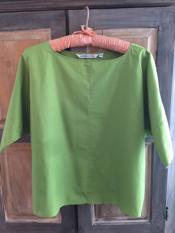 Japanalia Boutique Apple Green Cotton Pullover Top