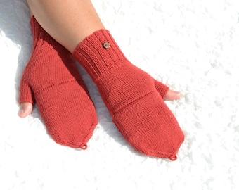Burgundy convertible mittens flip top mittens burgundy glomitts hand knitted merino wool convertible gloves