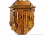 Wood utensil set, rack, grooved rolling pin, pestle, fork, spoon, vintage kitchen, cottage, kitchen display, vintage utensil, wood