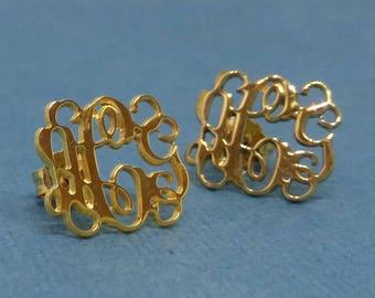 14k Gold Stud Earrings For Women Monogram Stud Earrings Monogram Earrings Women Stud Earrings