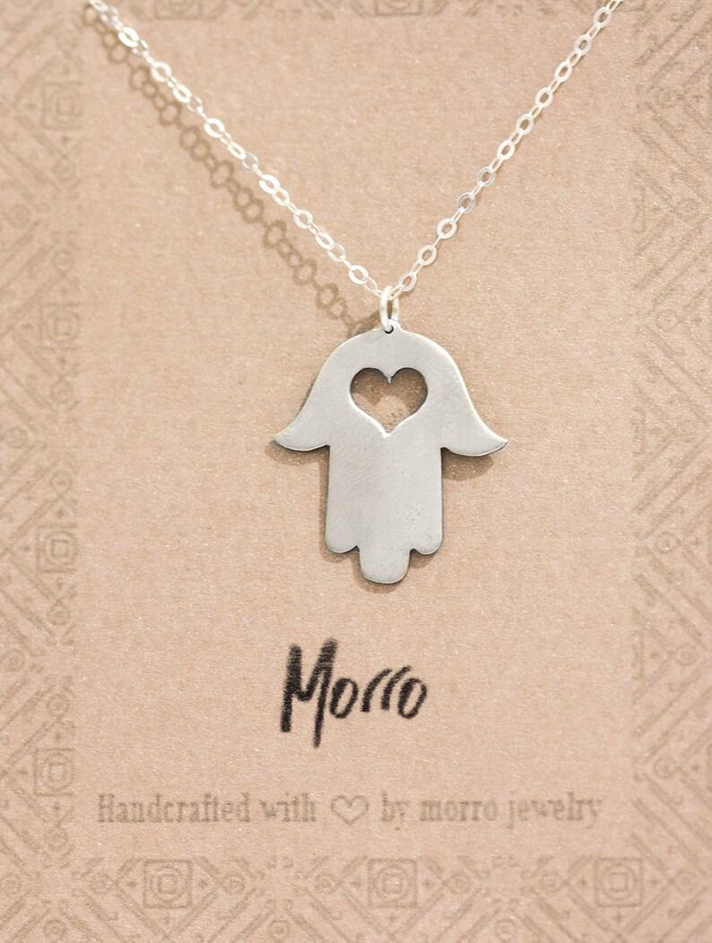 Hamsa Necklace With Heart // Hamsa Symbol Necklace // Heart With Hamsa  Necklace // Heart And Hamsa Necklace // Small Hamsa Hand Necklace