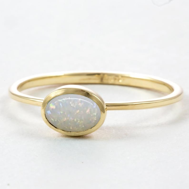 White Opal Engagement ring Yvintage opal engagement ringsengagement ring with opal boho engagement ring vintage boho ring