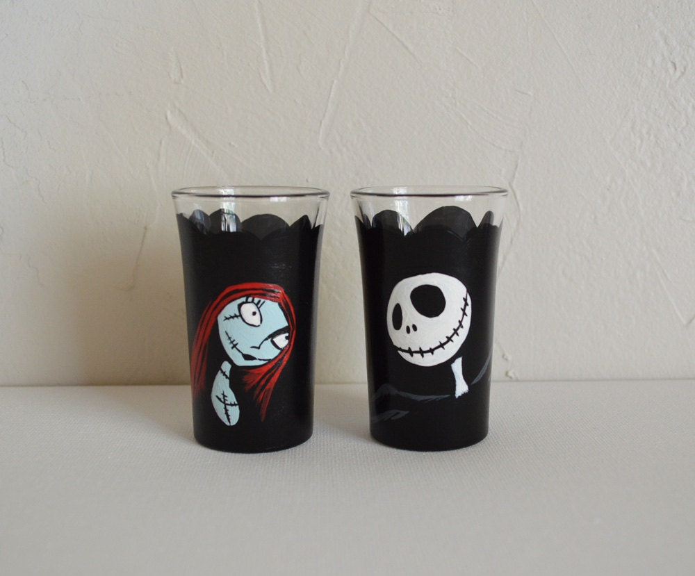 Jack and Sally Shot Glasses Set of 2 Nightmare Before | Etsy