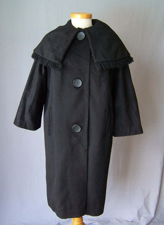 vintage 60's black portrait shawl collar wool coat
