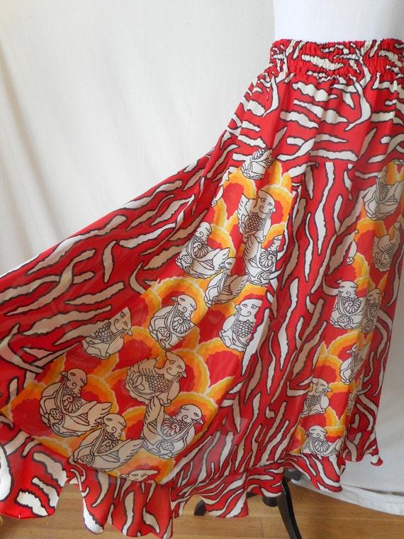 DIANE FRES vintage 80's phoenix summer gypsy skirt