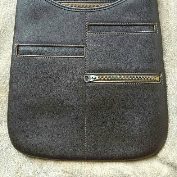 Vintage 1960s Bonnie Cashin brown leather messenge