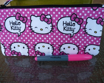 2670d544df8 Handcrafted Hello Kitty Zipper Pencil Case Travel Bag  Pouch Gadget Bag