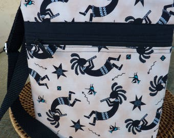 Handcrafted Kokopelli Small Cross Body Bag/Sling Bag/Small Purse with Outside Pocket and Adjustable Strap