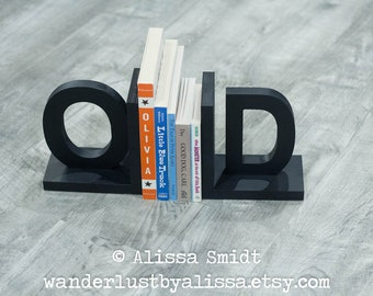 Wooden Custom Bookends Initial Bookends Ladybug Letter Bookends alphabet bookends, name bookends Custom Created to Coordinate with Your Decor