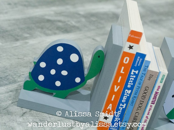 Oceana bookends Sea Turtle and Fish Themed Wooden Bookends