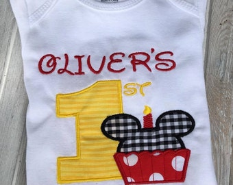 Mickey Mouse Birthday Shirt 1st Outfit First Onezie Personalized Boys Gift