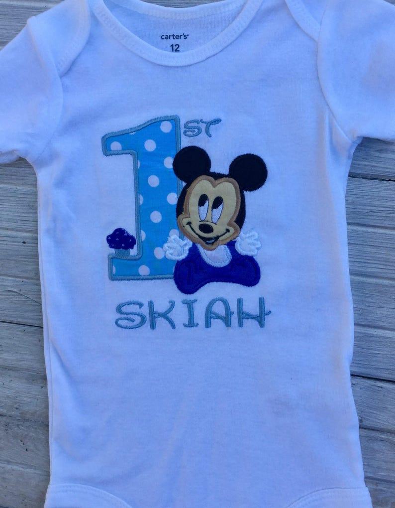 Disney First Birthday Boy Onesie Mickey Mouse 1st Shirt Birthd