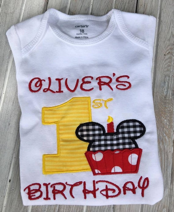 Mickey Mouse 1st Birthday Outfit.Mickey Mouse Birthday Shirt 1st Birthday Outfit First Mickey Birthday Onezie 1st Birthday Shirt Personalized Boys Birthday Outfit Gift