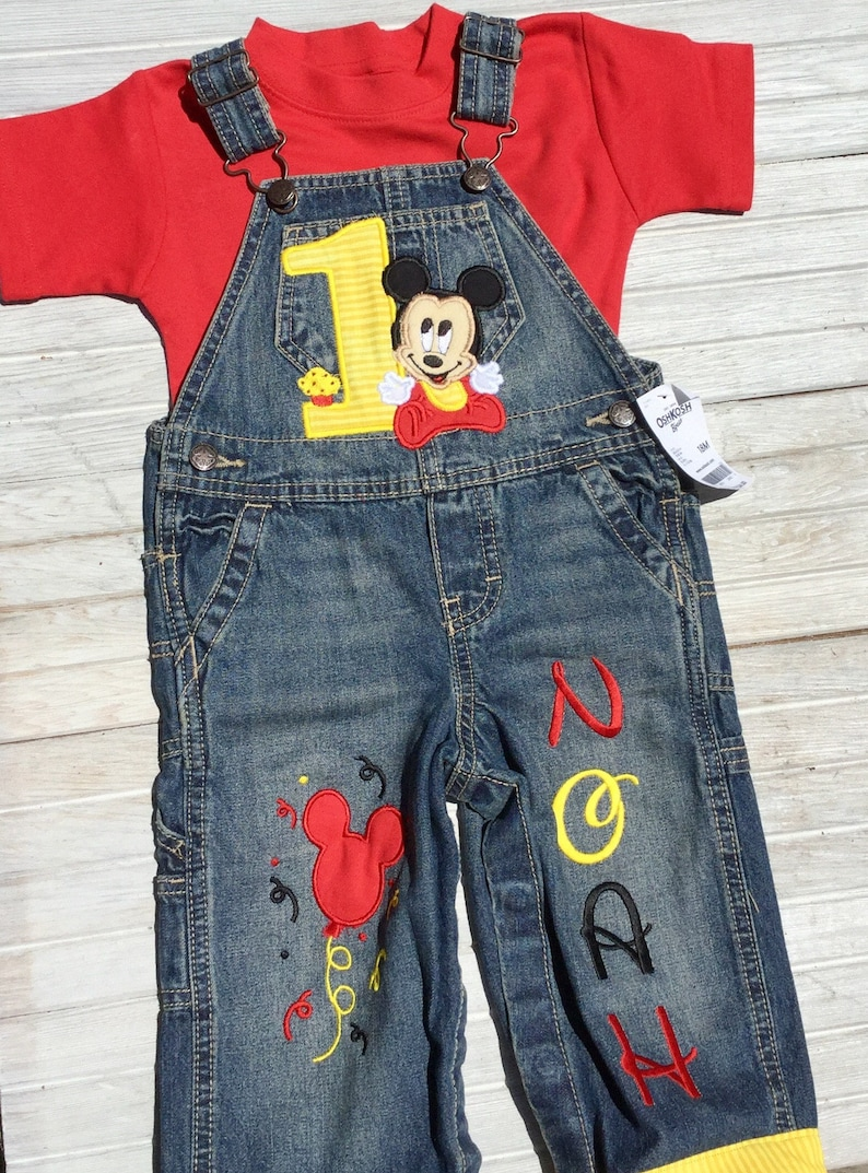 Mickey Mouse 1st Birthday Shirt Overalls Baby