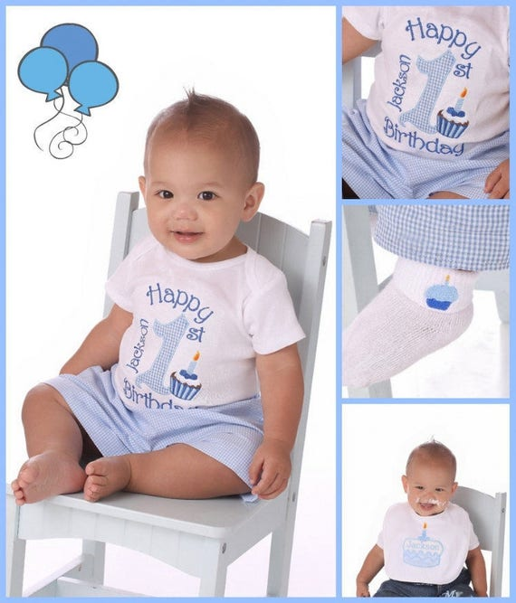 Pleasant Baby Boys 1St Birthday Outfit Blue Gingham Personalized Baby Etsy Personalised Birthday Cards Petedlily Jamesorg