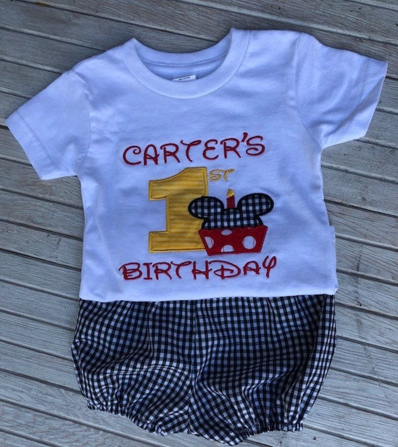 ef9e005b8 Baby Boys 1st Birthday Outfit-Black Gingham Personalized-Baby | Etsy
