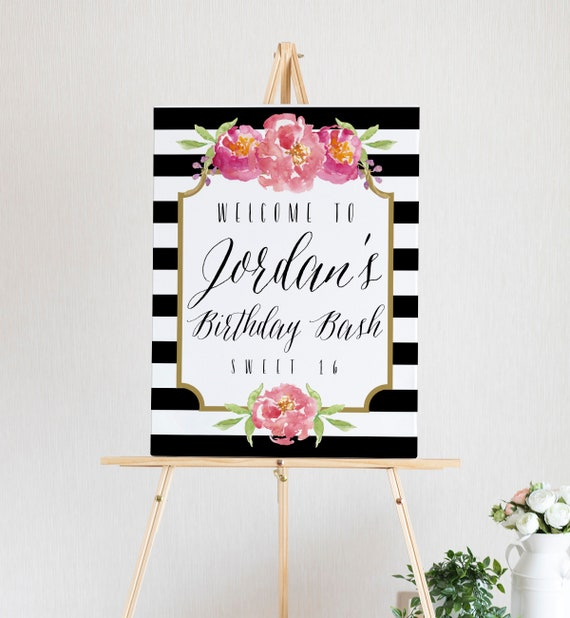 birthday welcome sign printable birthday sign template etsy