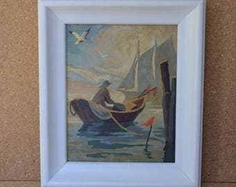 Sailing Foggy Morning Sea Vintage Paint By Number Ship at Sea Mid Century Paintings in Bright White Wooden Frame