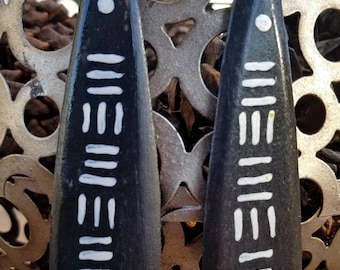 African Mudcloth inspired hand painted black and white wooden dangle earrings