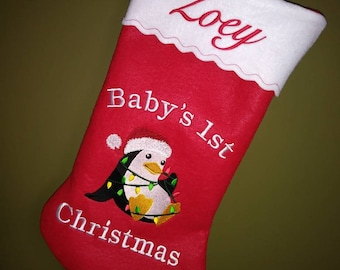 19 personalized embroidered babys first christmas stocking