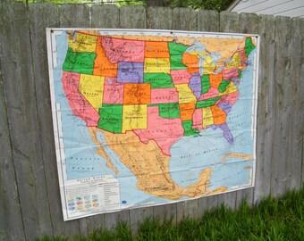 Nystrom World Map.Nystrom School Map Etsy
