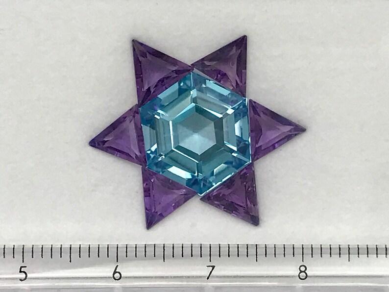 Amethyst 10.77 cts Blue Gemstone Blue Topaz Hexagon Star Pendant Set Loose Gemstone
