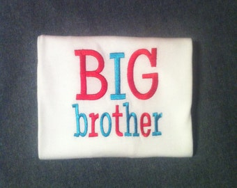 Cute Little Boys BIG brother Shirt. Size 6