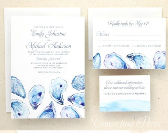 Oyster Watercolor Beach Wedding Invitation Set - custom designed and printed in the USA