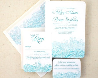 Waves Wedding Invitations, Beach Wedding Invitations, Wave Invitations - Designed and Printed in the USA - Matching items available
