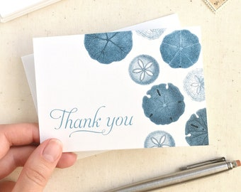 Sand Dollar Thank You Cards - Beach Thank You Notes - Set of 10 Blue Sanddollar cards with Envelopes - Made in the USA - Recycled Paper