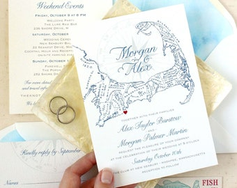 Cape Cod Wedding Invitations, Cape Cod Map Invitation Set - Custom Designed and Printed in the USA, Matching Items Available