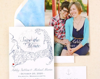 Cape Cod Save the Date - Cape Cod Map Save the Date - Photo Back - custom designed and printed in the USA