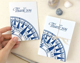 Nautical Compass Thank You Cards - Nautical Thank You Notes - Set of 10 Thank you cards with Envelopes - Made in the USA - Recycled Paper