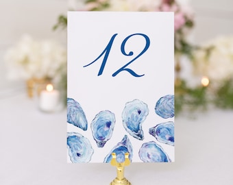 Oyster Table Numbers, Oyster Shell Table Numbers, Double Sided Extra Thick Stock, 5x7