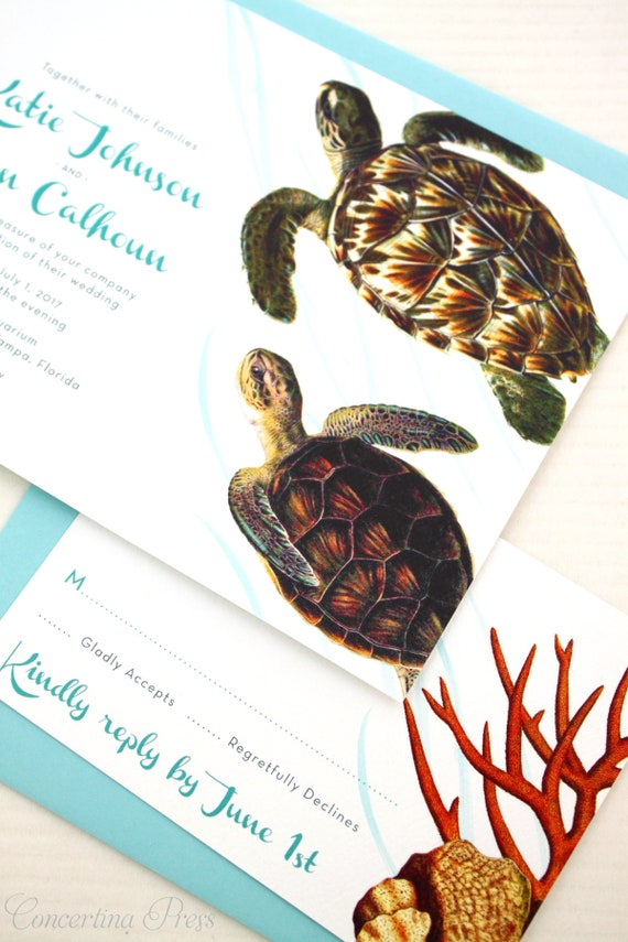 Jellyfish Wedding Invitations, Under the Sea Wedding Invitations, Aquarium  Wedding Invitation- custom designed and printed in the USA