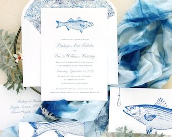 Fishing Wedding Invitation, Nautical Wedding Invitation, Fishing Wedding Invitations - custom designed and printed in the USA