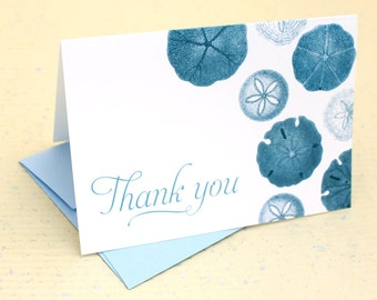 Sand Dollar Thank You Cards - Set of 8 with Envelopes