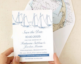 Sailboat Save the Date with Photo Back - designed and printed in the USA