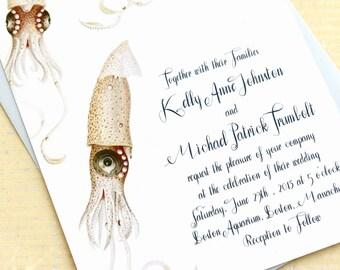 Squid Wedding Invitations for Ocean Lovers