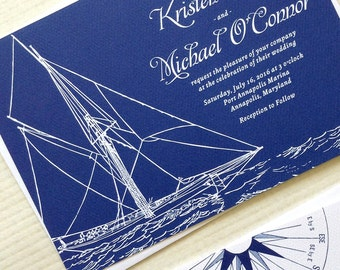 Sailboat Wedding Invitations for your Boat Wedding - Each Printed Set includes invite, RSVP, free website Card and envelopes