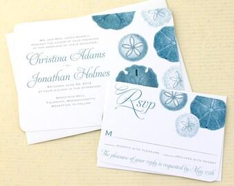 Beach Wedding Invitation - Sand Dollar Wedding Invitation Set