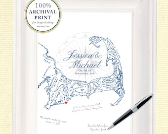 Cape Cod Alternative Wedding Guest Book, Cape Cod Map Guestbook, Cape Cod Guestbook, Cape Cod Wedding Gift, Long Lasting Archival Print