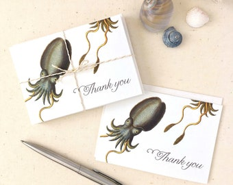 Cuttlefish Thank You Cards - Squid Thank You Cards - Under the Sea Thank You - Set of 10 Thank you Cards with Envelopes - Recycled Paper