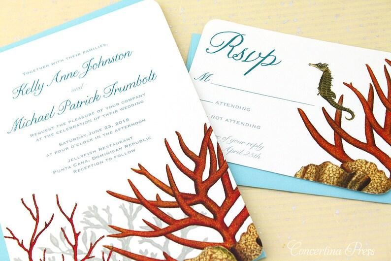 Coral Reef Beach Wedding Invitations, Aquarium Invitations, Under the Sea  Theme - custom designed and printed in the USA