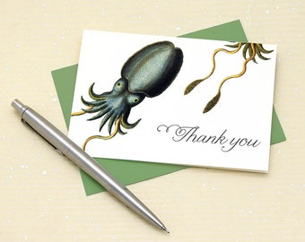Cuttlefish Thank You Cards - Set of 8 with Envelopes