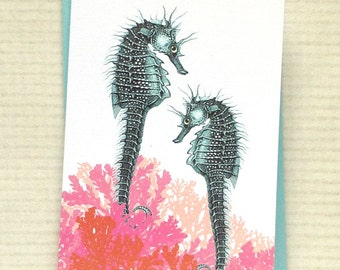 Seahorse and Coral Blank Notecards - Aqua and Coral Notecards set of 8 with envelopes