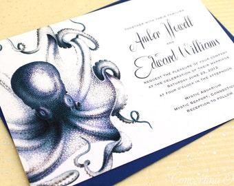 Octopus Wedding Invitation Set, Nautical Wedding Invites, Aquarium Wedding - Each set includes invite, RSVP, and optional free website card